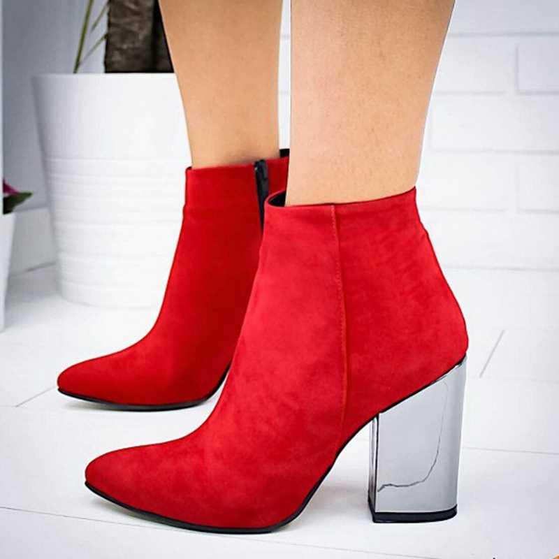 SHUJIN avrupa sivri burun kız botları katı kadın perçin çizmeler çizmeler sonbahar kış 2019 yeni yüksek topuklu ayakkabılar