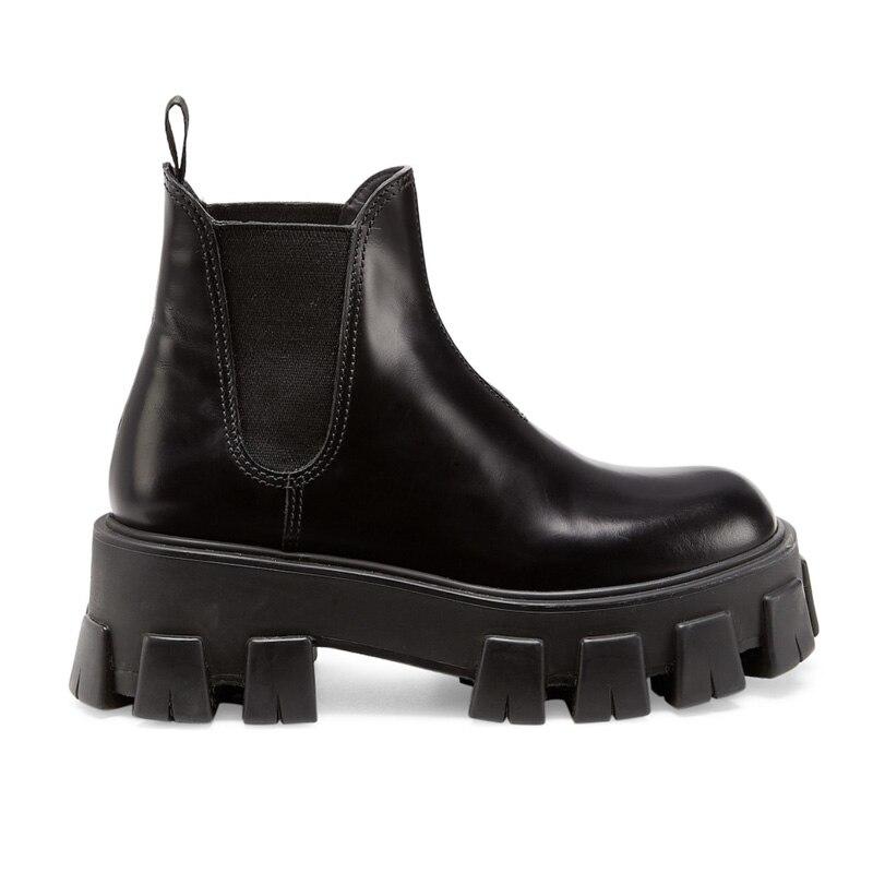 Черные ботильоны для женщин в западном стиле; ботинки «Челси» на толстой платформе средней высоты; кожаная женская обувь без шнуровки; bottine ...