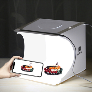 Image 1 - נייד מתקפל Lightbox צילום צילום סטודיו Softbox 2 LED אור רך תיבת תמונה רקע ערכת אור תיבת עבור DSLR מצלמה