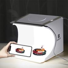 Portable pliant Lightbox photographie Photo Studio Softbox 2 lumière LED boîte souple Photo fond Kit boîte lumineuse pour appareil Photo reflex numérique