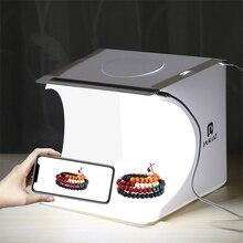 Taşınabilir katlanır Lightbox fotoğraf fotoğraf stüdyosu Softbox 2 LED ışık yumuşak kutu fotoğraf arka plan kiti ışık kutusu DSLR kamera için