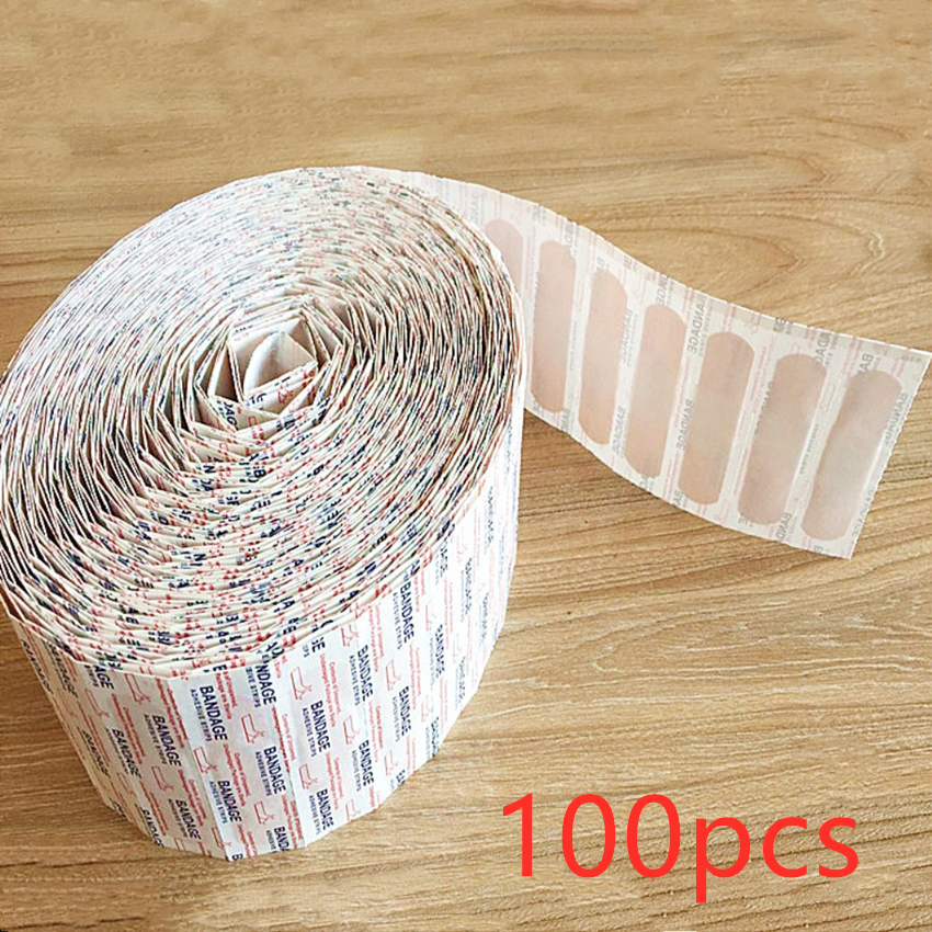100 pces band aids impermeável respirável almofada adesivo emplastro ferida hemostasia adesivo kits de primeiros socorros banda primeiros socorros bandagem|Kits de emergência|   -