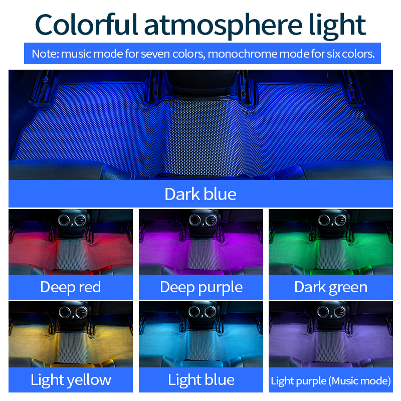 Image 3 - OriginSpark 4pcs Car RGB LED interior atmosphere Music control lamp/light for car floor/foot with OBD interface and 6 Colors-in Decorative Lamp from Automobiles & Motorcycles