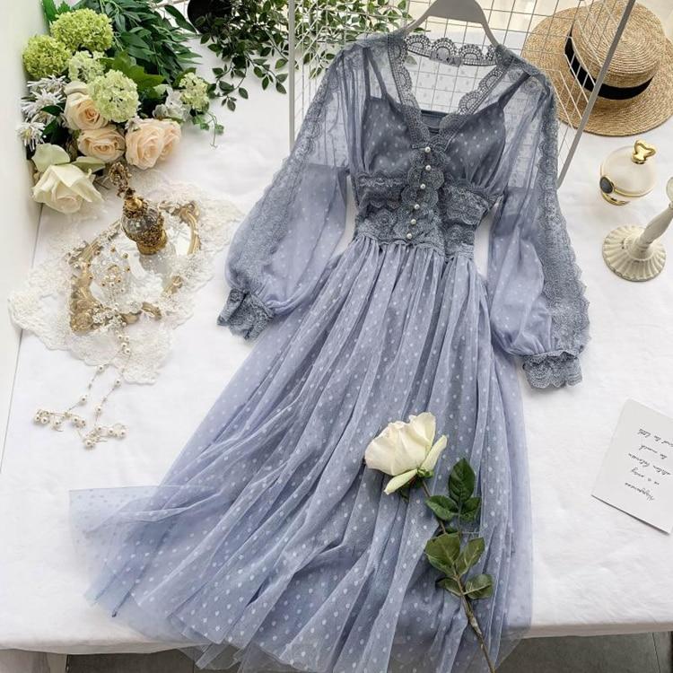 Lace Floral V-Neck Long Sleeve Polka Dot Dress 10