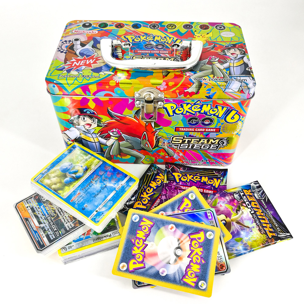 TAKARA TOMY Pokemon Card Metal Box Table Card Game MEGA Trainer Energy Collections Cards Battle Toys 153cards For Kids