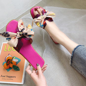 2020 new luxury fashion brand design women's sandals Korean bow flat H-shaped slippers high quality ladies shoes 4