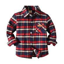 Рубашка с длинными рукавами для мальчиков в европейском и американском стиле; детская повседневная Клетчатая блуза с длинными рукавами; новая стильная тонкая рубашка