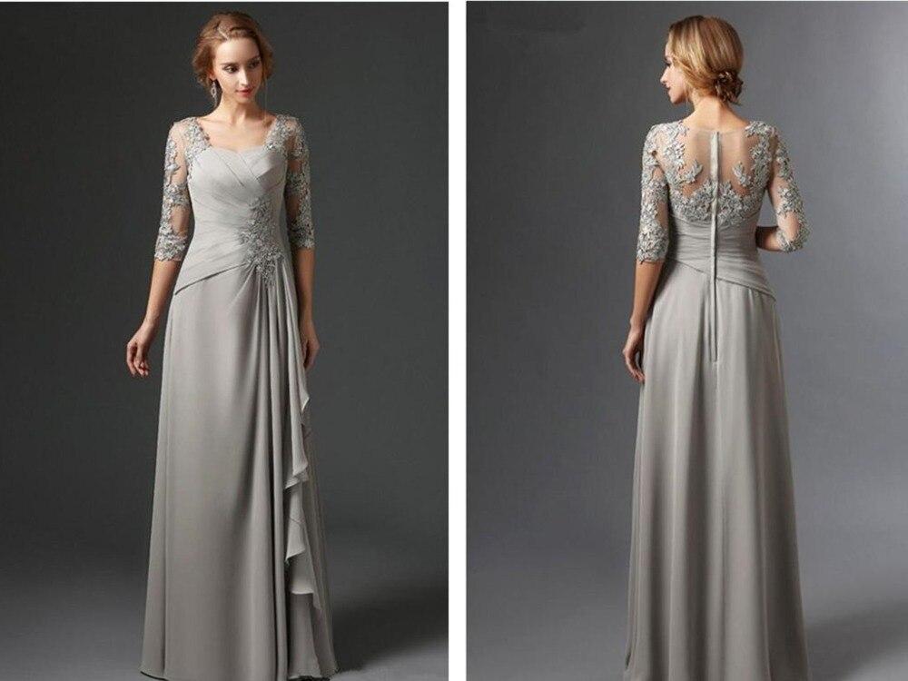 Vestido Novia Applique 3/4 Long Sleeves Evening Party Gown Silver Chiffon A Line 2018 Lace Appliques Mother Of The Bride Dresses
