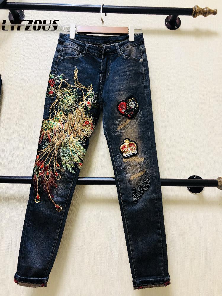 New Autumn Fashion Phoenix Embroidery Denim Pants Slim Women Sequined Trousers Female Slim Fit Pencil Jeans Pants Plus Size 2020