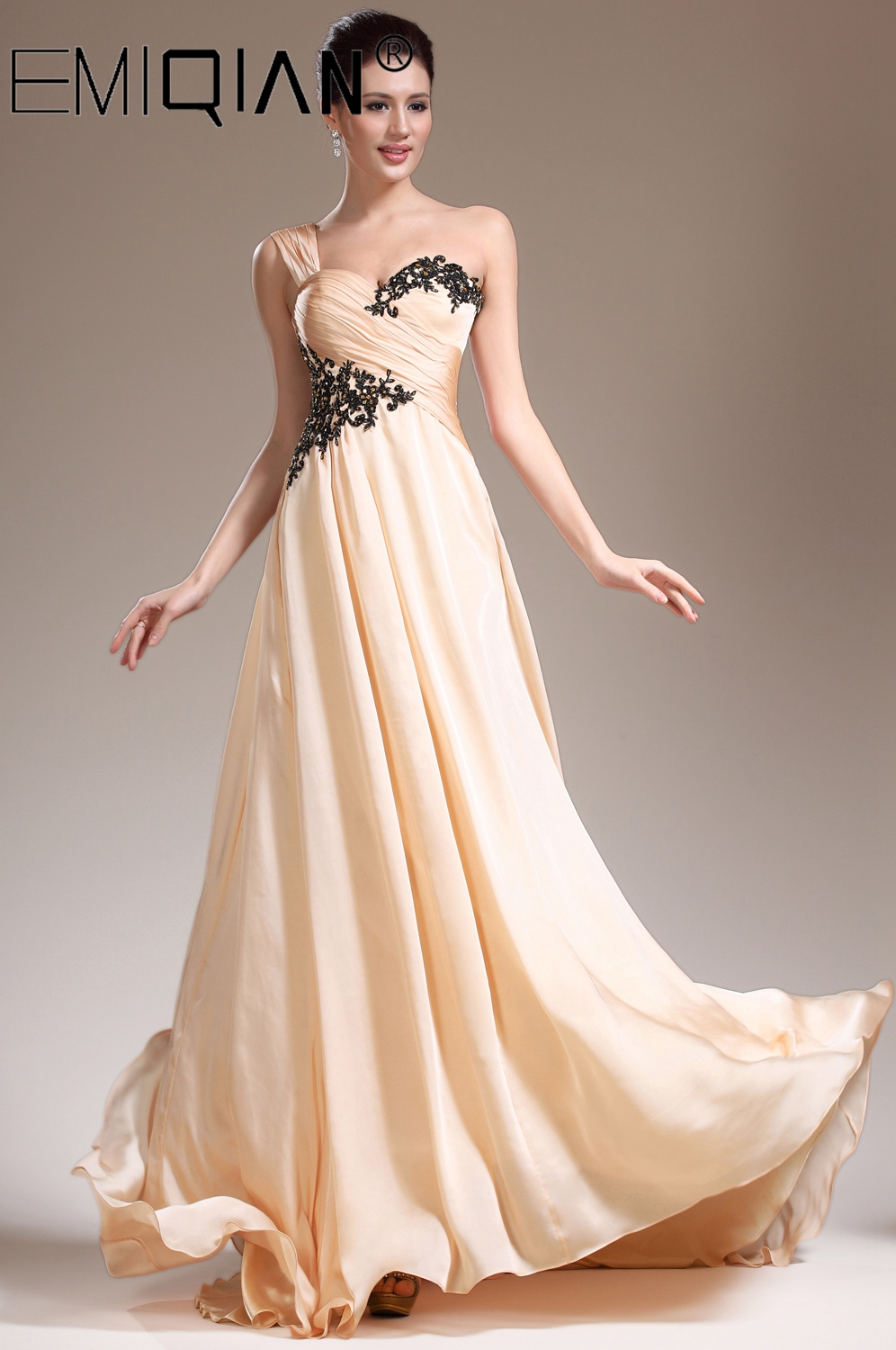 Special Occasion Dresses A-line One Shoulder Long Evening Dresses Empire Formal Dresses Fit Pergant