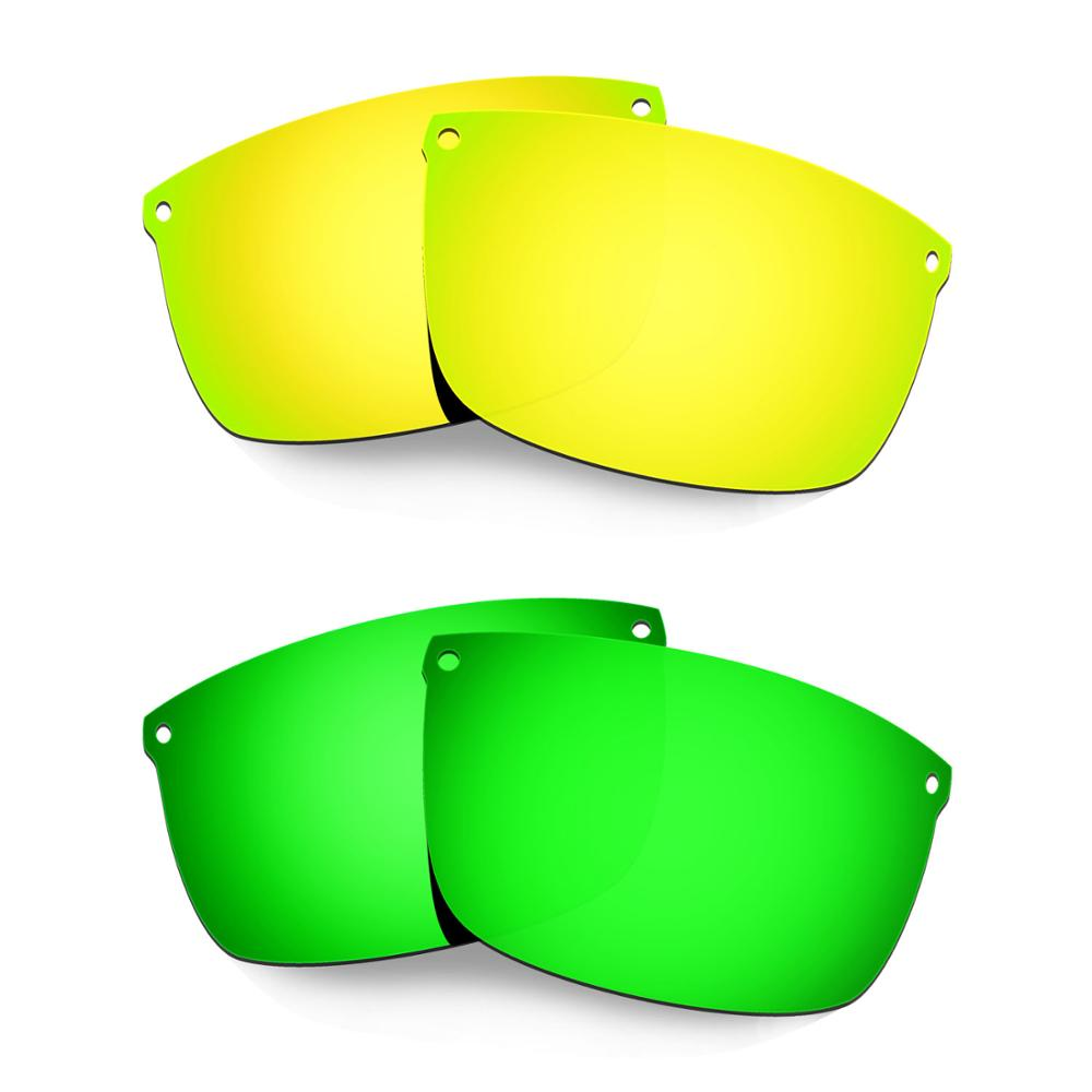 HKUCO For Carbon Blade Sunglasses Polarized Replacement Lenses 2 Pairs Gold & Green