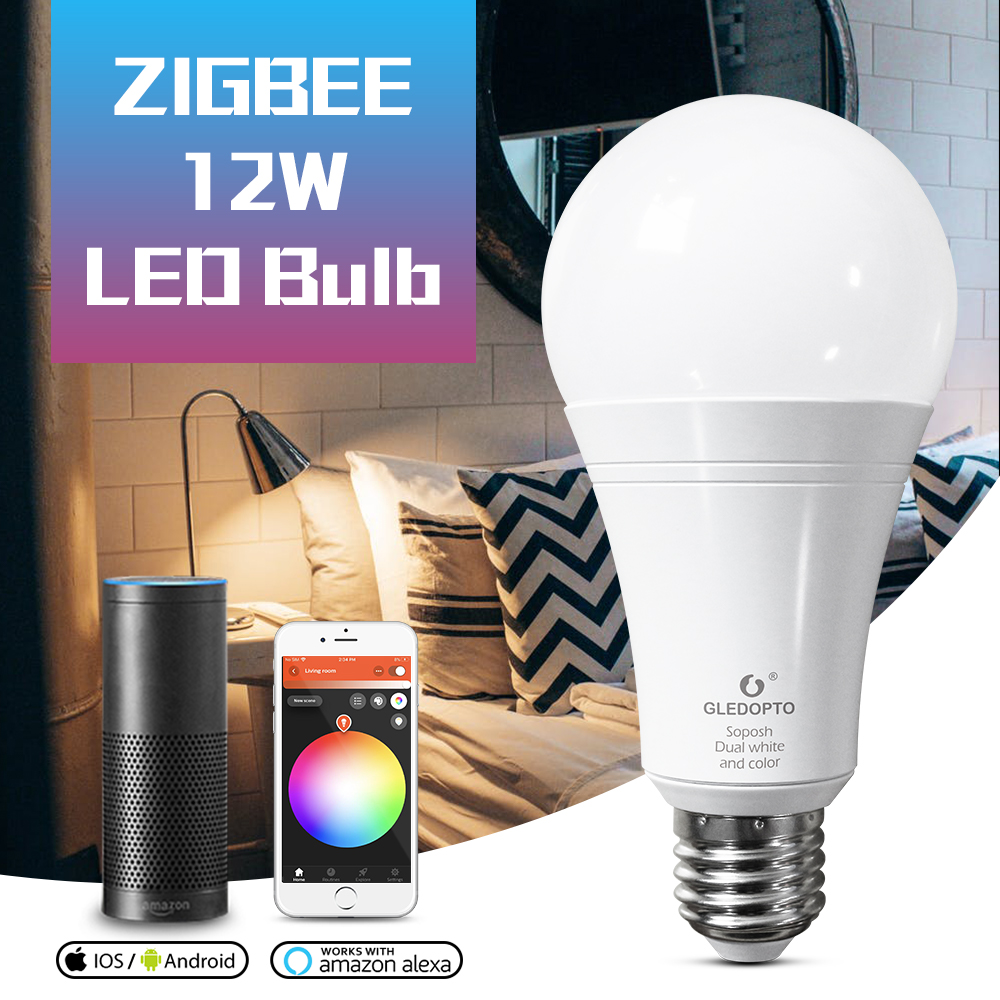 GLEDOPTO ZIGBEE 12W RGBCCT <font><b>led</b></font> smart bulb AC100-240V RGB and dual white color <font><b>LED</b></font> bulb zigbee zll 3.0 RGBWW work with alexa image