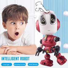 Smart Talking Robot Toy DIY Gesture Electronic Toy Head Touch-Sensitive LED Light Alloy Robot Toys For Kids Christmas Gift 2020(China)