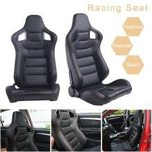 R EP Asiento universal estilo deportivo, sillón XH 1041 BK para tunear coches, simulador de auto de carreras, ajustable y de cuero negro de PVC