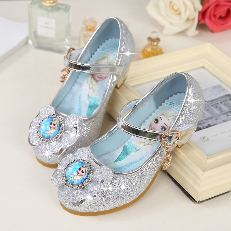 Girls Wedding Shoes Glitter New Brand Flat Heels Children Elsa Princess Sandals Dance Kids 2020 New Fashion Party Shoes With Bow