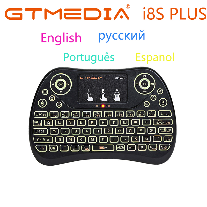 GTMEDIA I8S PLUS Backlit 2.4G Wireless Keyboard Air Mouse English Russian Spanish Portuguese Touchpad Handheld For TV BOX