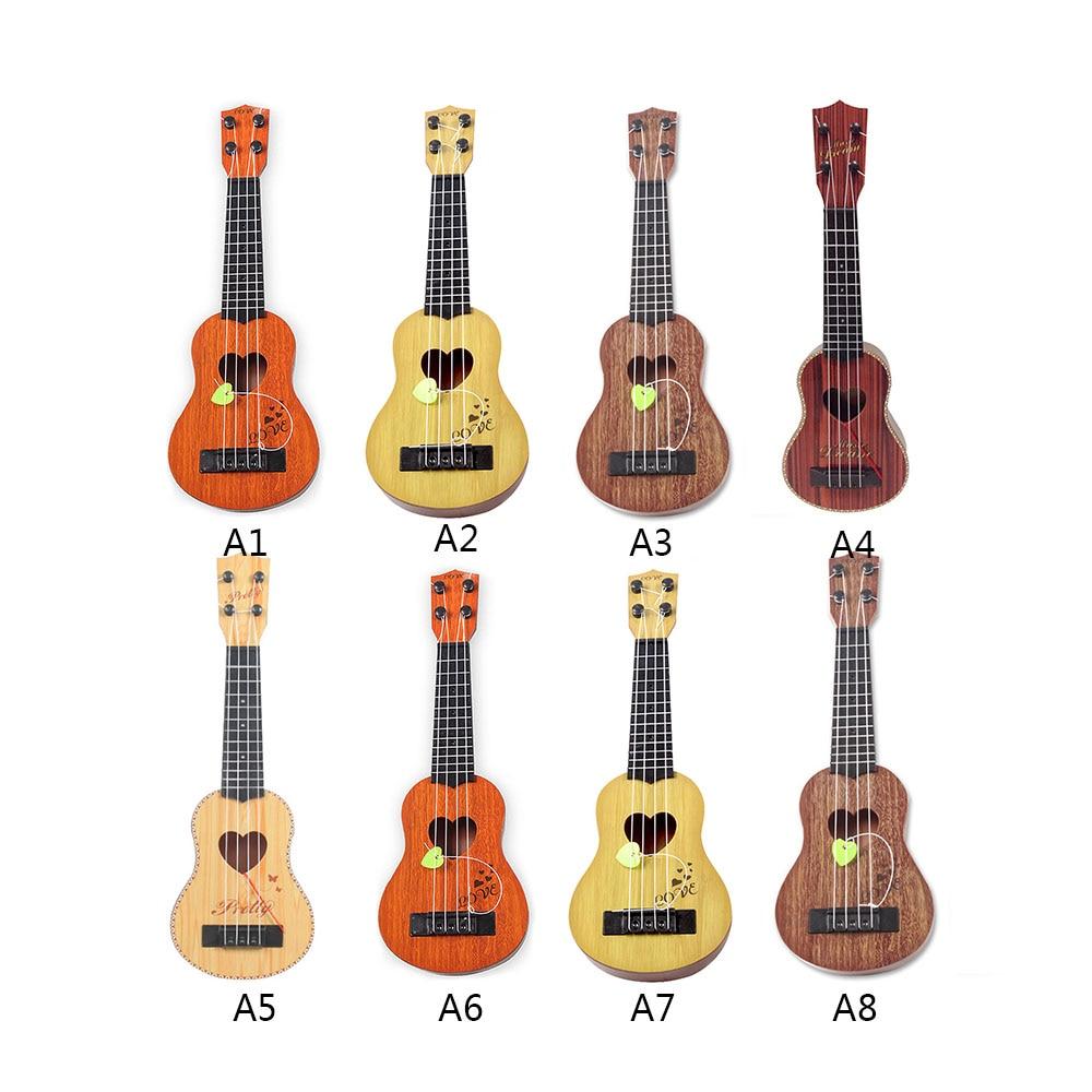 Mini Guitar Ukulele Wooden Kids Toddler Toy Music Instrument Birthday Gift Blue