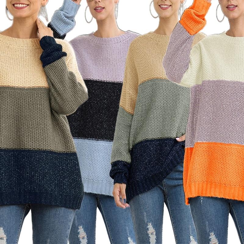 Женский вязаный свитер с длинным рукавом Свободный пуловер туника