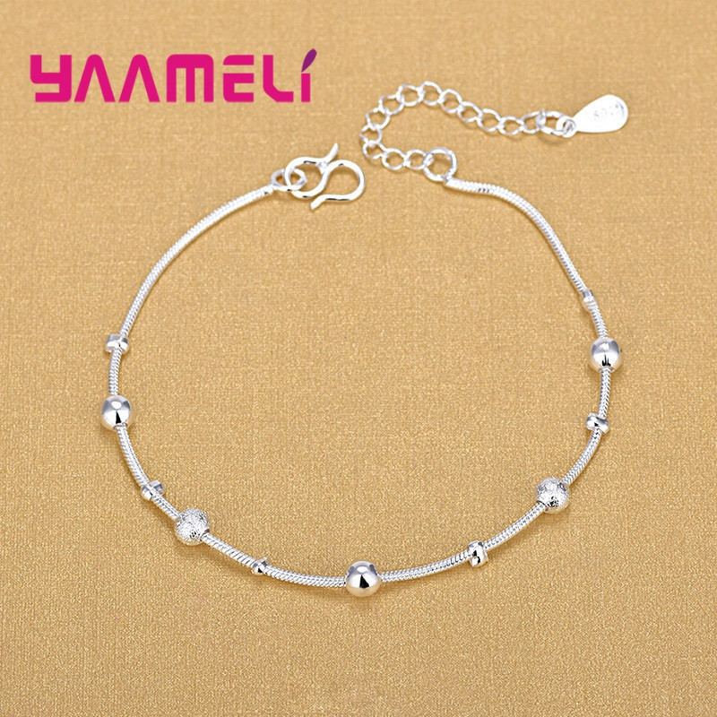 Trendy Women Foot Chains Adjustable Mujer Charm 925 Sterling Silver Anklets Bohemia Jewelry Summer Holiday Design