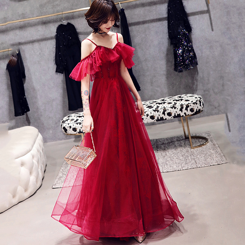Evening Dress 2019 The Elegant Wine Red Boat Neck Party Prom Gown Off The Shoulder Women Dresses Robe De Soiree