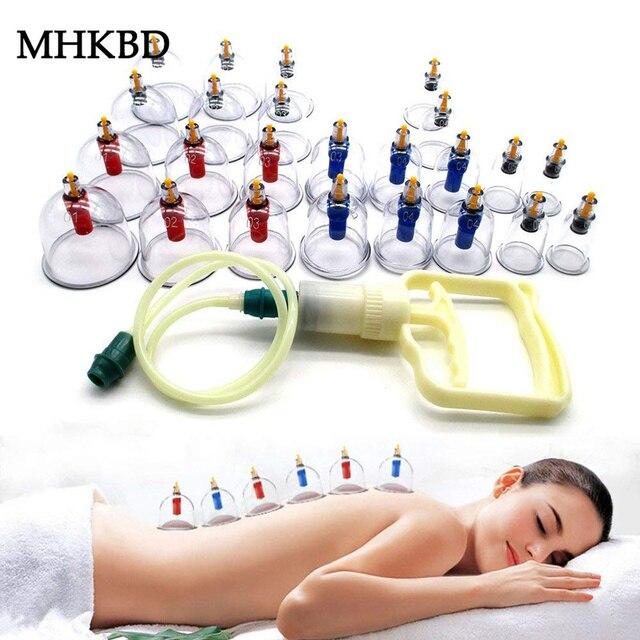 12/24 peças de vácuo cupping corpo massageador ventosas conjunto frasco plástico terapia sucção a vácuo cupping conjunto latas para massagem