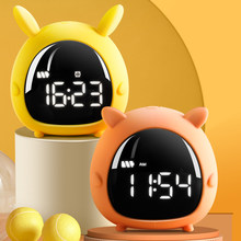 Kids alarm clock for Bedroom LED Digital Alarm Clocks with USB Cable Rechargeable Night light Cute for Children Smart Desk Clock
