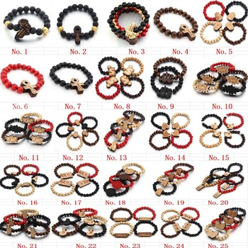 Free shipping more style Jewelry Mix Styles Wooden Elasticity Hip Hop Bracelet Rosary Beads Good Wood (100PCS/LOT)