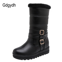 Gdgydh Thickening Plush Snow Boots Women Outdoor Fashion Buckle Girls Boots For Winter Warm Shoes Wedges Leather Pu Plus Size(China)
