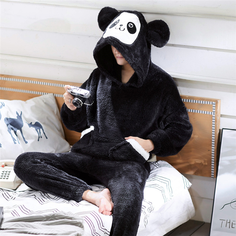 Pajamas Nightwear Sleep-Suit Flannel Male Winter Mens for Cartoon title=