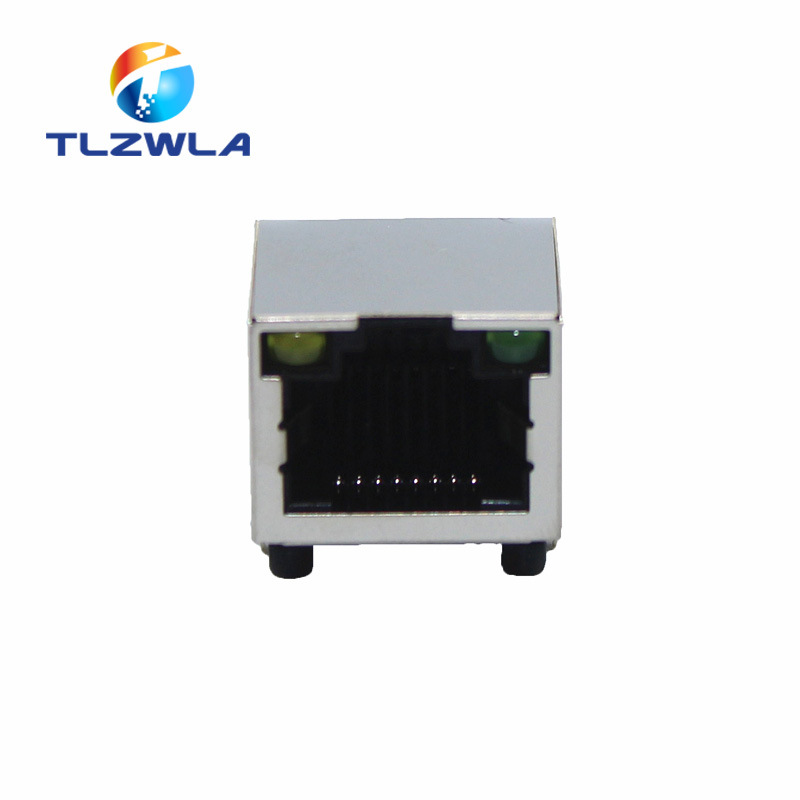 1Pcs RJ45 Network Ethernet FEMALE SOCKET With Light RIGHT ANGLE 56 8P8C Female Jack Connector