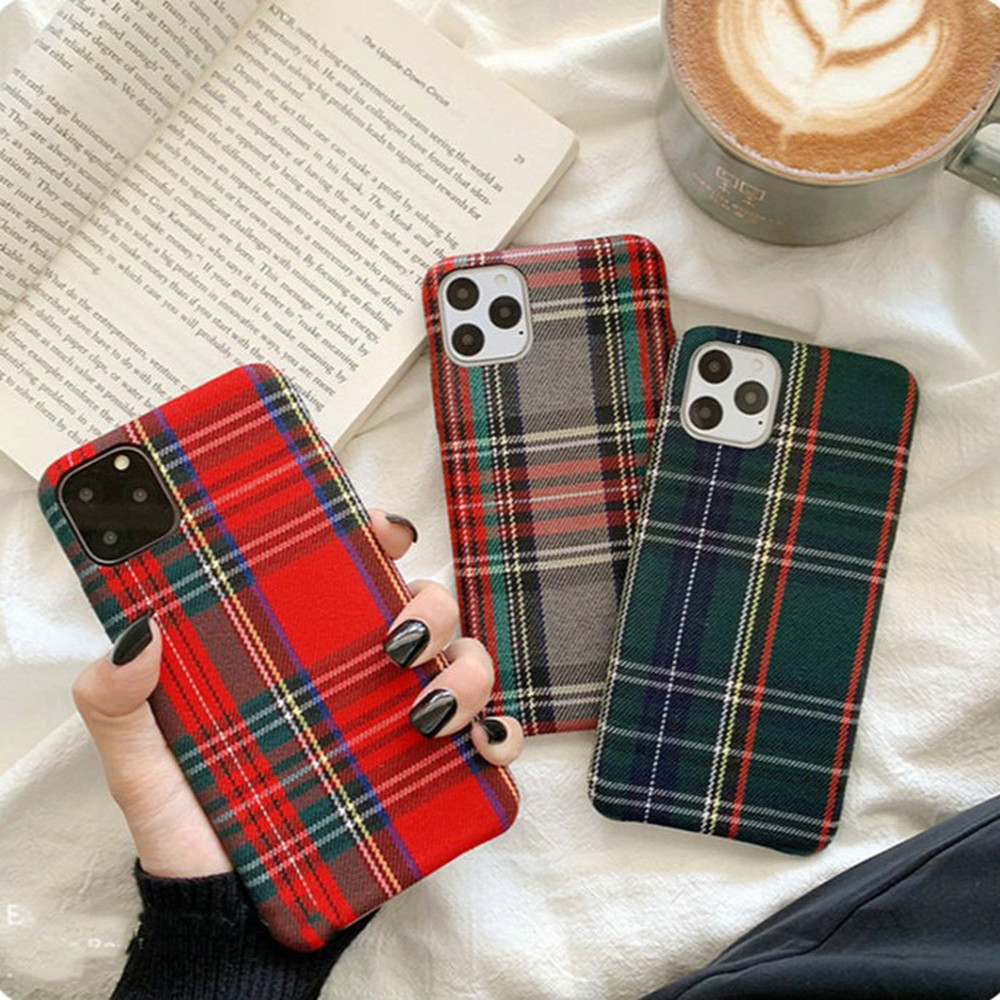 Retro Plaid Phone Case for Iphone 11 Pro Coque Soft TPU Cover XR X XS 8 7 Plus Funda Simple Fabric Cloth