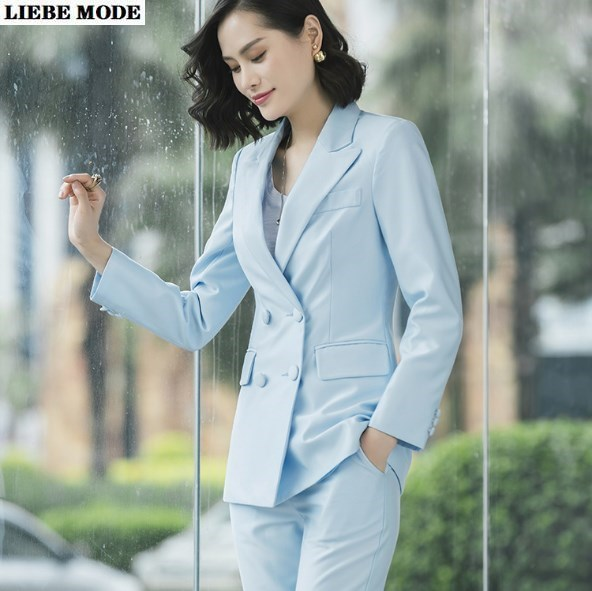 Womens Office Formal Trouser Suit Formal Pant Suits Lady Two Piece Double Breasted Blazer and Pant Set for Women Work Wear Suite