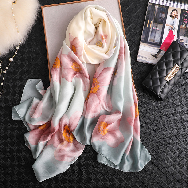 Lotus Flower Scarf For Women Simple Elegant Shawl New Hot Spring Scarf Silk Feeling Hijabs Wholesale