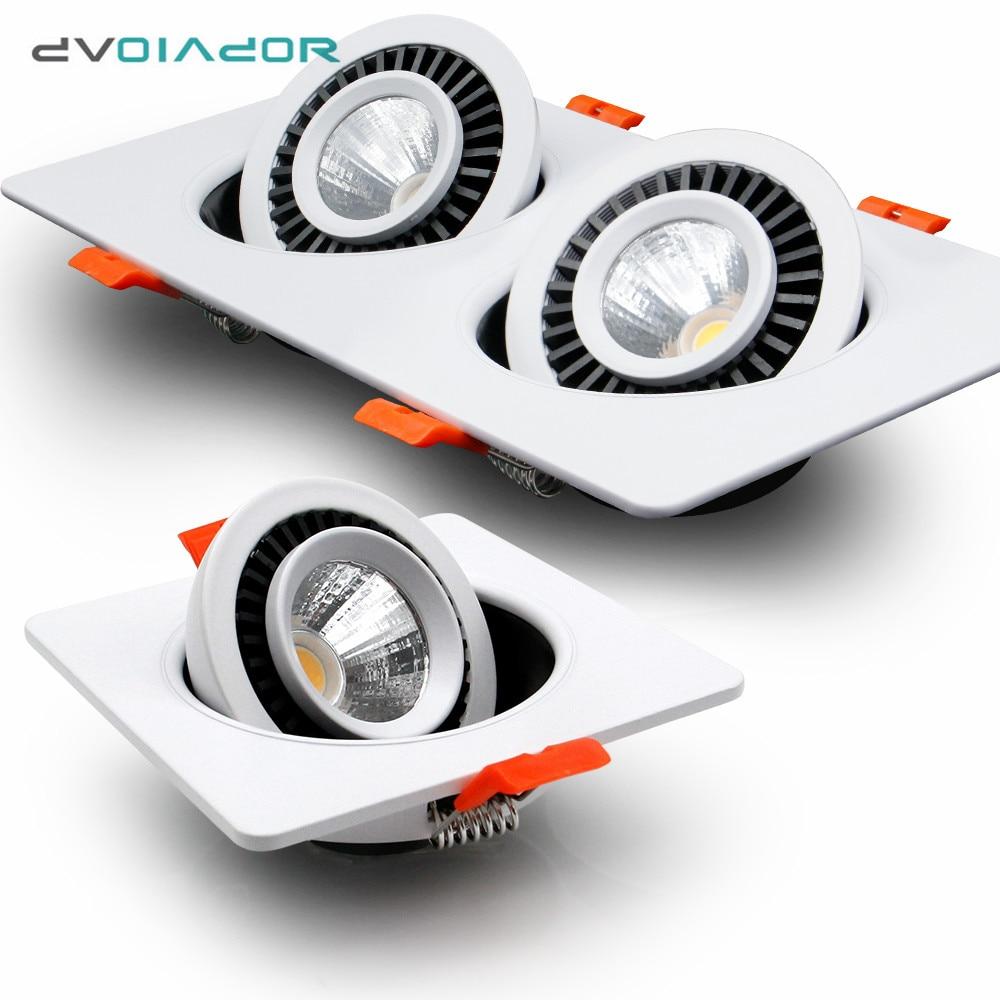 Pode ser escurecido led downlight único/duplo cabeça ponto led recessed downlight ângulo ajustável sala de estar quarto cozinha lâmpada do teto