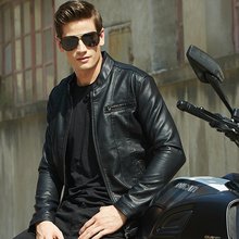 Black Leather Jacket Men Slim Fit Faux Motorcycle Biker Jackets For Man Casual Mandarin Collar Spring Autumn Fashion Clothing free shipping new cool hot pu mandarin collar men s black solid leather motorcycle biker jacket sizes s to xxl