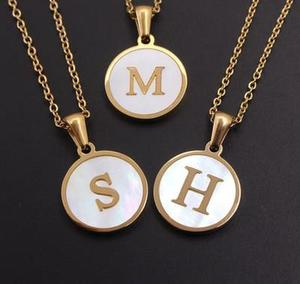 Stainless Steel Round Shell 26 Letter Pendant Necklace for Women Gold Color Alloy Chain Chokers Necklaces Minimalist Jewelry