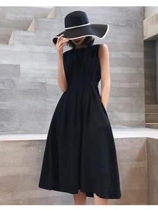 Midi Dresses Fold Evening-Party Black White Elegant Vintage Women Casual Sleeveless Solid-Color