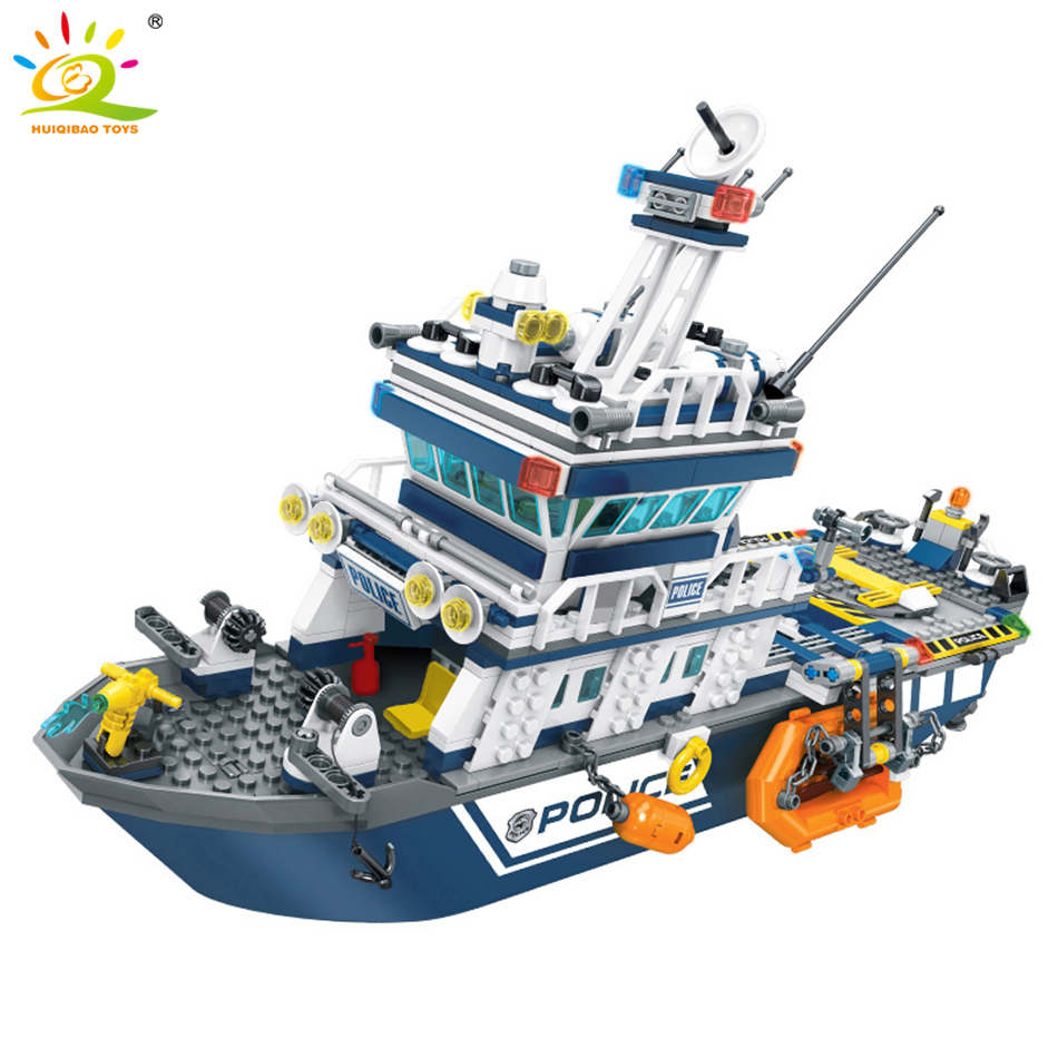 869pcs Police Series Patrol Boat Helicopter Model Building Blocks Legoing City Police Figures Enlighten Bricks Toys For Children-in Blocks from Toys & Hobbies    3