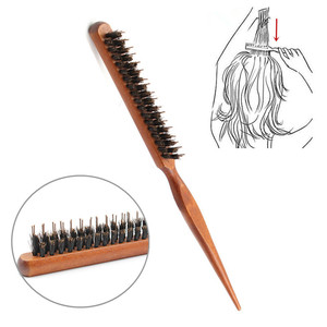 Professional Salon Teasing Back Hair Brushes Wood Slim Line Comb Hairbrush Extension Hairdressing Styling Tools DIY Kit 1 PCS(China)