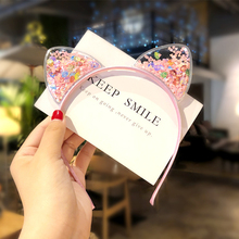 Kawaii Shiny Sequins Cat Ears Headband for Girl Manual Cat Ears Hairband Kid Hair Accessories