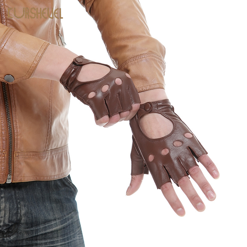 Genuine Leather Gloves Half Finger Mens Driving Gloves Motociclista Black Brown Soft Goatskin Fingerless Mittens S M L XL AGB308
