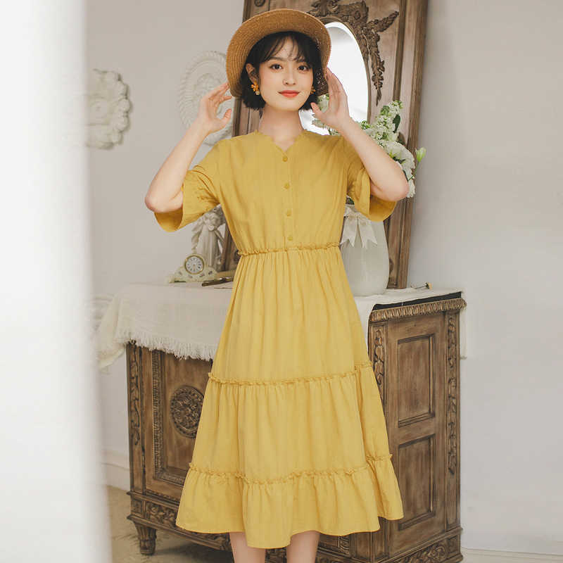INMAN 2020 Summer New Arrival 퓨어 코튼 v 넥 스트 라이프 Selvedge 프렌치 스타일 반소매 드레스