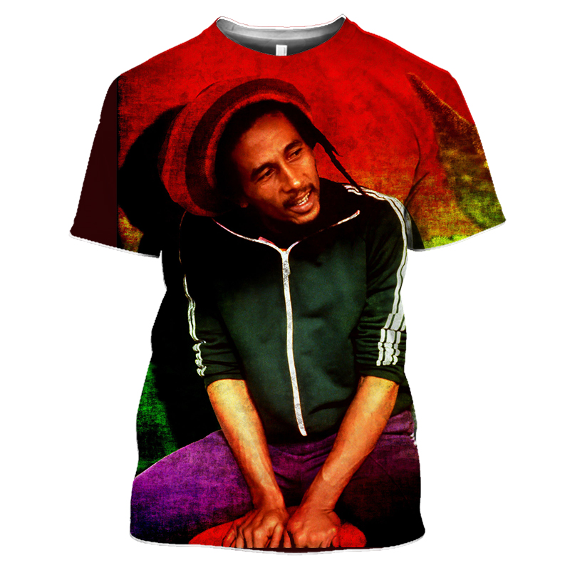 Bob Marley Rock Hip Hop T Shirt Men Male Summer Plus Size Streetwear Casual Short Sleeve Round Neck Weeds Reggae Star T-Shirt (38)