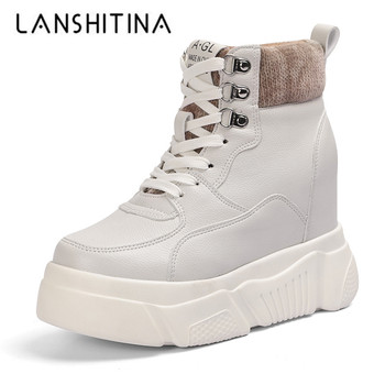 2019 Women Winter Casual Platform Ankle Boots Woman Autumn Wedge Heels Sneakers 11CM Heigh Increasing Outdoor Plush Warm Shoes winter fur sneakers platform woman 2018 autumn high top female casual shoes wedge side zipper fashion warm snow sneakers v671