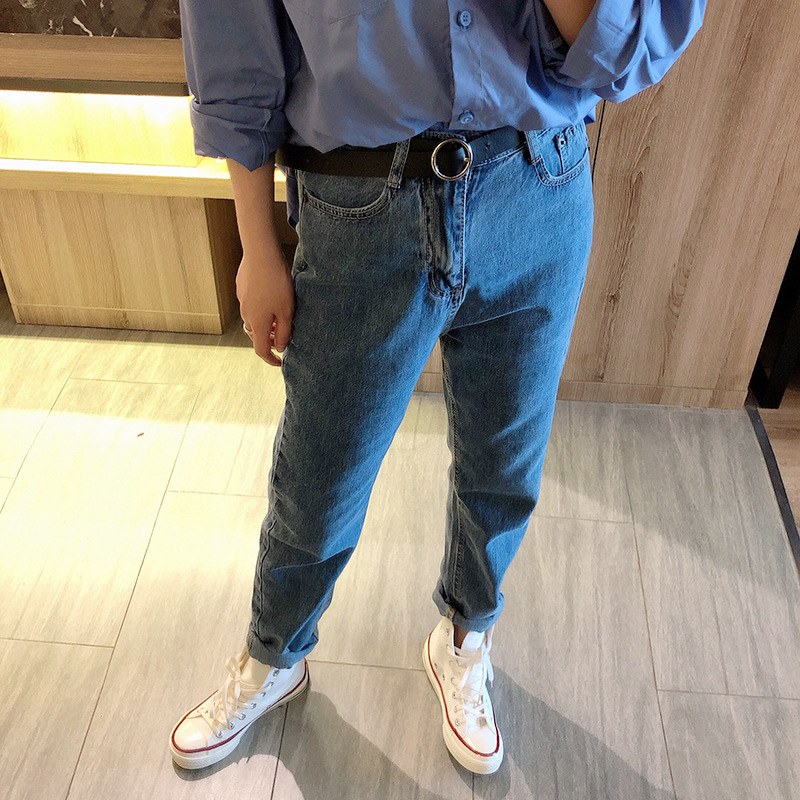 Amazon Dark Color Jeans Women's 2019 Autumn New Products Casual Versatile Trousers With Belt 2032