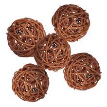 5PCS 7cm Rattan Wicker Ball Decorative Orbs for Party Decor Home Accessory