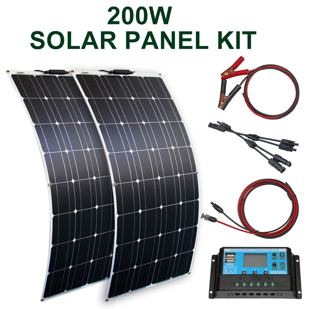 <font><b>100w</b></font> 200w flexible <font><b>solar</b></font> <font><b>panel</b></font> with 10A/20A <font><b>solar</b></font> regulator cable for <font><b>12v</b></font> battery charger home roof image