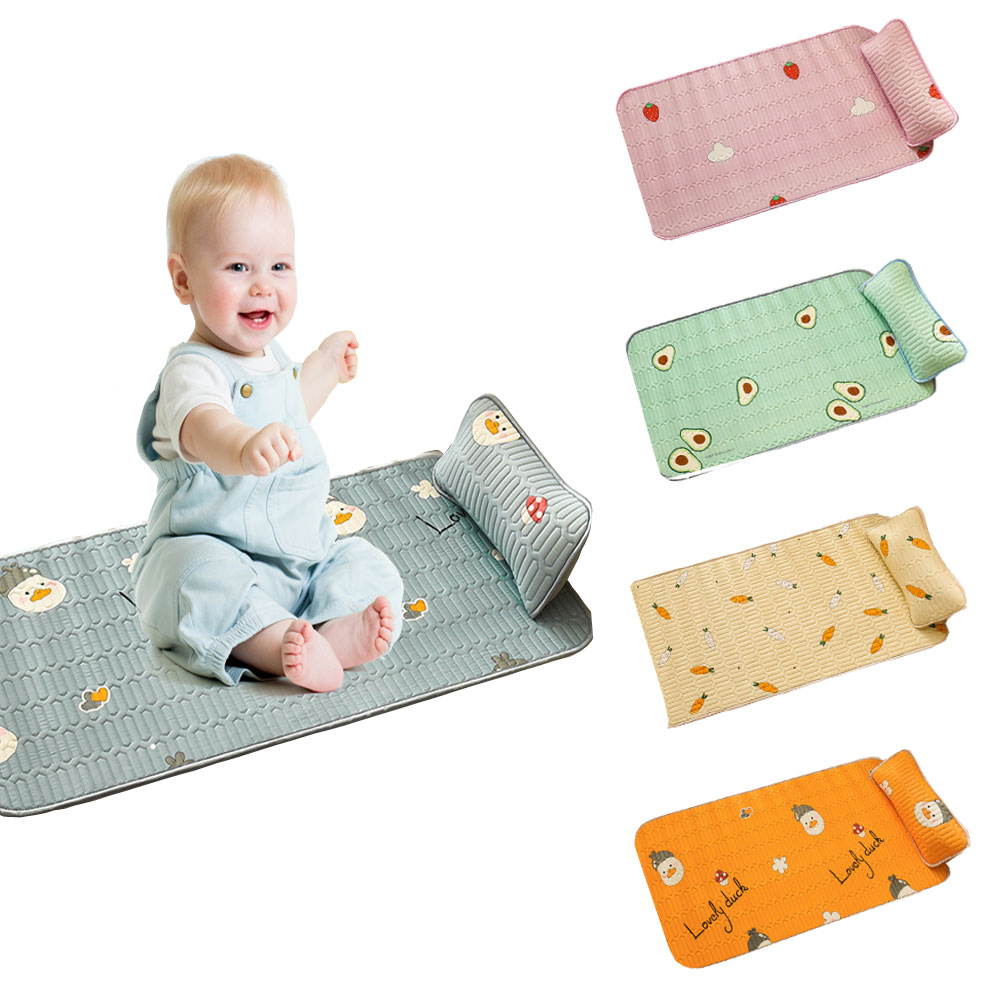 HereNice Newborn Baby Cool Mat Infant Mattress Cover For Summer Toddler Soft Breathable Crib Fitted Sheet Cartoon Bedding Set