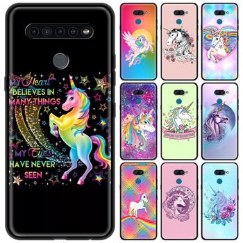Silikonowy telefon pokrywa etui na LG K40 K40S K50 K50S K52 K71 G7 G8 (ThinQ) G6 luksusowe powłoki Funda Coque tęczowa opaska jednorożec tanie i dobre opinie CN (pochodzenie) Fitted Case Silicone Soft Phone Case Fall Shell W stylu rysunkowym Cartoon Anime Cute Anti-knock Dirt-resistant
