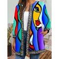 Пикантные размера плюс кардиган Роскошная верхняя одежда в этническом стиле Цветочный принт Женское пальто и куртки для девочек зимнее кар...
